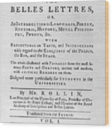 Rollin: Title Page, 1769 Wood Print