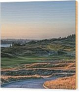 Rolling Green And Gold - Chambers Bay Golf Course Wood Print