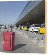 Rolling Luggage Outside An Airport Terminal Wood Print