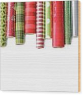 Rolls Of Colored Wrapping  Paper On White3 Wood Print