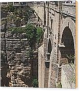 Roman Bridge Of Ronda Wood Print