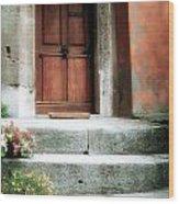 Roman Door And Steps Rome Italy Wood Print
