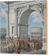 Roman Soldiers Lead Chained Captives Wood Print