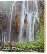 Romantic Scenery By The Waterfall Wood Print