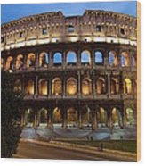 Rome Colosseum Dusk Wood Print