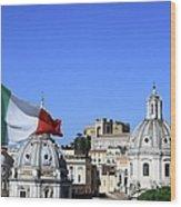 Rome Skyline With Italian Flag Wood Print