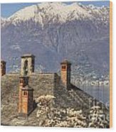Roof With Chimney And Snow-capped Mountain Wood Print