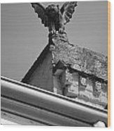 Rooftop Chained Gargoyle Statue Above French Quarter New Orleans Black And White Wood Print