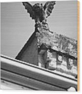 Rooftop Gargoyle Statue Above French Quarter New Orleans Black And White Diffuse Glow Digital Art Wood Print by Shawn O'Brien