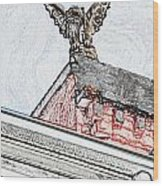 Rooftop Gargoyle Statue Above French Quarter New Orleans Colored Pencil Digital Art Wood Print