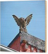 Rooftop Gargoyle Statue Above French Quarter New Orleans Film Grain Digital Art Wood Print