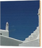 Rooftops Of Mykonos Wood Print