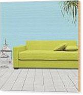 Room With Green Sofa Wood Print