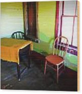 Room With Red Chair Wood Print