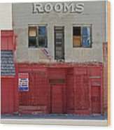 Rooms And A Beer Sign Wood Print by James Steele