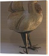 Rooster 2 Bronze Legs And Ceramics Body Sculpture Wood Print