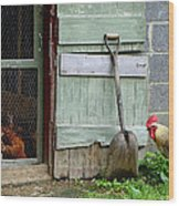 Rooster And Hens Wood Print