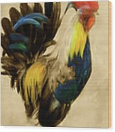 Rooster On The Prowl 2 - Vintage Tonal Wood Print