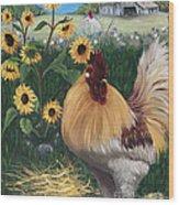 Rooster One Eyed Jack Wood Print