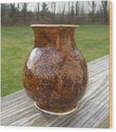Root Beer Vase Wood Print by Monika Hood