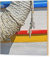 Rope And Boat Detail Wood Print