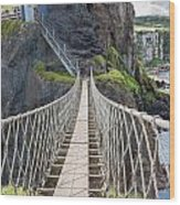 Rope Bridge At Carrick-a-rede In Northern Island Wood Print