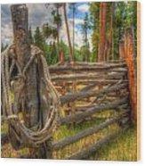 Rope On Fence Wood Print