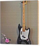 Rose And Bass Guitar Wood Print