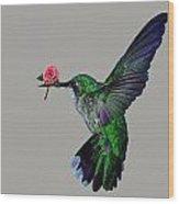 Rose Baring Bird Wood Print