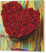 Rose Heart And Ribbon Wood Print by Garry Gay