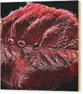 Rose Leaf Macro With Drops Wood Print