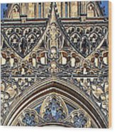 Rose Window - Exterior Of St Vitus Cathedral Prague Castle Wood Print by Christine Till