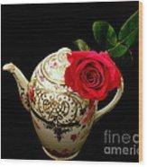 Rose With China Teapot Wood Print