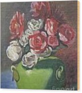 Roses And Green Vase Wood Print