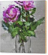 Roses In A Jar Wood Print