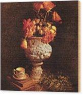 Roses In Urn Wood Print