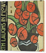 Roses In Vase Poster Wood Print