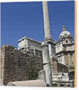 Rostra. Column Of Phocas And Septimius Severus Arch In The Roman Forum. Rome Wood Print
