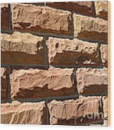 Rough Hewn Sandstone Brick Wall Of A Historic Building Wood Print