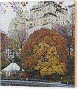 Round Autumn Trees Wood Print
