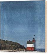Round Island Lighthouse In Michigan Wood Print