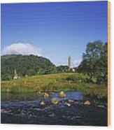 Round Tower And River In The Forest Wood Print