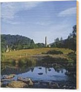 Round Tower In The Forest Glendalough Wood Print