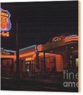 Route 66 At Night Wood Print