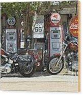 Route 66 Gas Pumps Wood Print