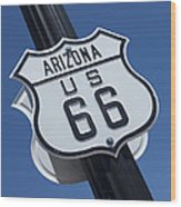 Route 66 Highway Sign Wood Print