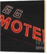 Route 66 Motel Neon Wood Print