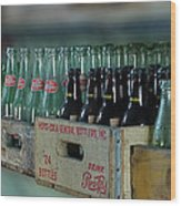 Route 66 Odell Il Gas Station Cases Of Pop Bottles Digital Art Wood Print