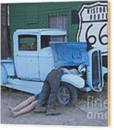 Route 66 Repair Shop Wood Print