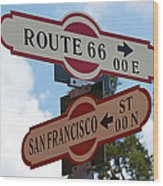 Route 66 Street Sign Wood Print